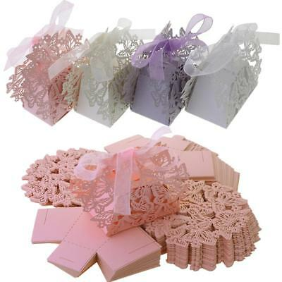 50X Wedding Favor Box Butterfly Laser Cut Chocolate Gift Candy Box Shower Party