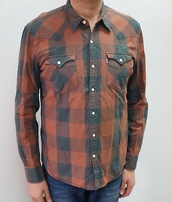 Levi's Slim Fit Men's Pink Check Button-Front Long Sleeve Shirt XL
