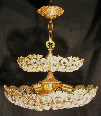 Unusual Two Tier Crystal and 24k Gold Plated Chandelier Circa 1970's