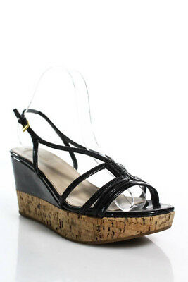 30ee3133d702 PRADA Black Patent Leather Open Toe Slingback Wedge Heel Strappy Sandals 8  38.5