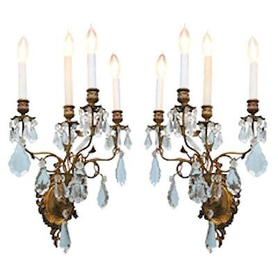 Impressive Pair of French Gilt Crystal Sconces from the Harkness Mansion