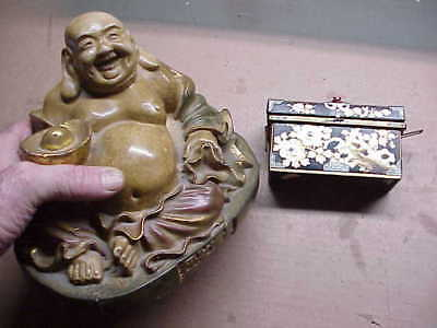 #119 Lot 2 Antique Laughing Buddha & Black Lacquer Wood Box Gold