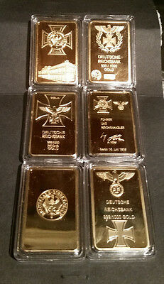 Lot of 3 Different 1 oz Gold Clad Bars WW2 WWII German Germany Hitler