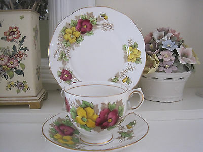 Pretty Vintage Salisbury Pansy Hp Fine Bone China Trio