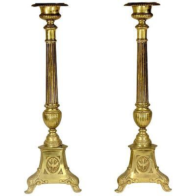 Monumental Brass Prickets Candlesticks, 19th Century from the Harkness Estate