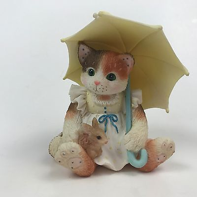 Calico Kittens April Showers Cat Umbrella with Bunny Rabbit Enesco 155500