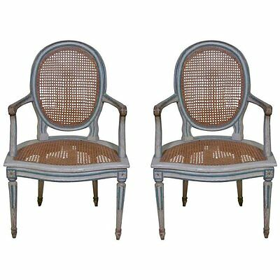18th Century Louis XVI Painted Pair of Armchairs in Baroness de Rothschild Style