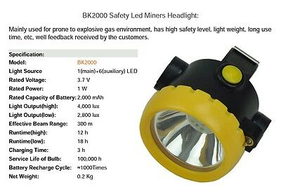 BK2000 led miner's cap lamp