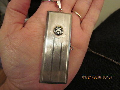 Large Rare Antique 1915-1920 Sterling Silver Enamel Card Money Holder Necklace