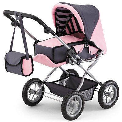 Bayer Doll Pram Combi Grande - Light Pink and Charcoal