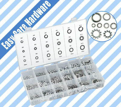720 Washer Assortment Kit Set Lock Star Fasteners Toothlock Spring Flat Washers