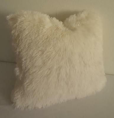 Ivory Shaggy Supersoft Plush Faux Mongolian Wool Cushion Cover 45cm