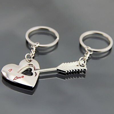 Romantic Couple Heart With Arrow Keychain Valentine's Day Keyring Lover Gift