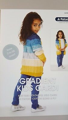 Patons Knitting Pattern #0040 Gradient Kids Cardi to Knit in Cotton Blend 8 Ply