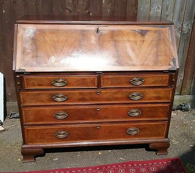 19thC bookmatch walnut&mahogany 2 over 3 , bureau