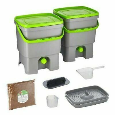 Bokashi Organico 2 Large Waste Bins with active Bran Indoor Composter - no Odour