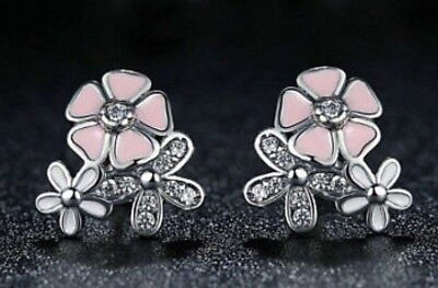 925 Sterling Silver Poetic Bloom Style Pink Cz Flower Earrings With Box