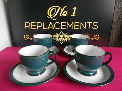 4 x Denby Greenwich Tea Cups and Saucers