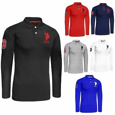US Polo Assn Branded Mens Long Sleeve Polo Shirts Pique Collared T-Shirts S-XXL