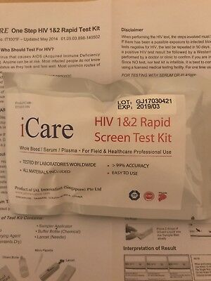 HIV 1/2 AIDS rapid self test Kit WHO USAID NICD Approved 99.8% Accuracy *Sample*