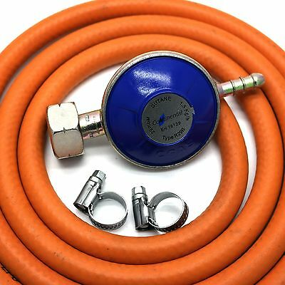 Continental BUTANE GAS REGULATOR WITH 2m HOSE/PIPE & 2 CLIPS FITS CALOR 4.5kg