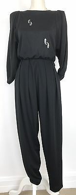Vintage Black Jumpsuit Side Pockets Sparkly Paisley Print M