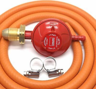 Calor Gas Brand 37mbar PROPANE GAS REGULATOR & 2m HOSE/PIPE AND 2 CLIPS 1.5kg/h