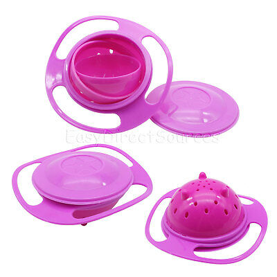 360 Rotating Baby Kid Food Spill-Proof Gyro Bowl Pink Non Spill Feeding Toddler