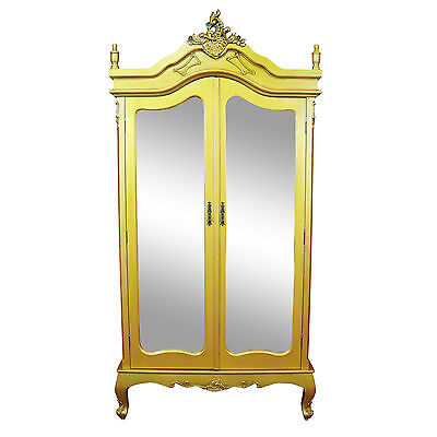 Chic French Ornate Style Antique Gold Double Full Mirrored Armoire Wardrobe