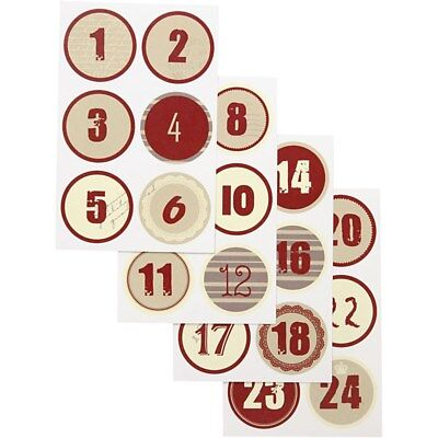 Advent Calendar Sticker Set - Christmas Number Labels Tags - Vintage Red Round