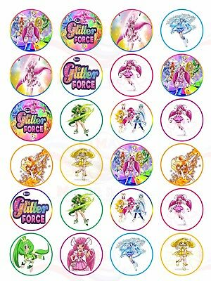 Glitter Force Mix #1  Edible Cupcake Toppers Wafer Card x 24