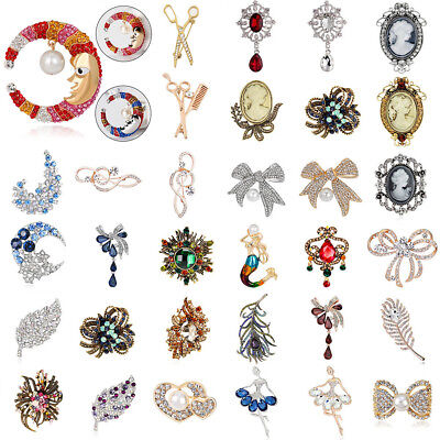 Wedding Bridal Party Unique Brooch Pin Women Luxury Crystal Brooch Pin Rosy Gift