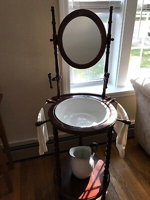 Antique Wooden Wash Basin Stand With Mirror