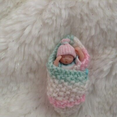 OOAK Miniature Handmade Baby 1:12 SCALE clay doll DOLLHOUSE NURSERY By Sheryl