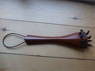 Cello Tailpiece, Full Size, With Cord And Four Black Metal Tuners, Uk Seller!