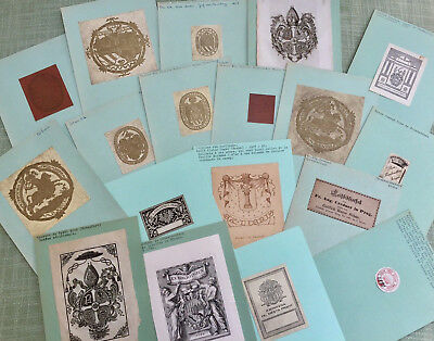 55 Exlibris Bookplates Czech Konvolut Lot in Book Box w Tooled Leather Spine