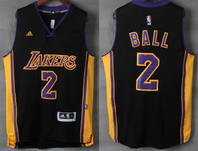New Men's Los Angeles Lakers #2 Lonzo Ball Basketball Jersey Black S-XXL