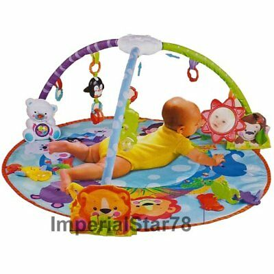 2in1 BABY PLAY MAT BLUE ACTIVITY GYM KICK CRAWL FUN SOUNDS CARPET Baby