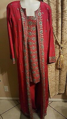 Orange 3 pc Indian set dress kuftan caftan abaya gown pants L size