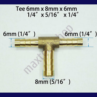 1/4 X 5/16 X 1/4 | 6mm 8mm 6mm Tee 3-Way Hose Barb Brass Fitting Fuel Connector