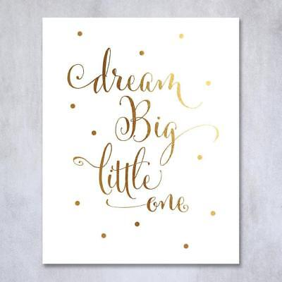 "Nursery Wall Art Decor Print Dream Big Lil One Poster Picture 8 x 10"" Gift NEW"