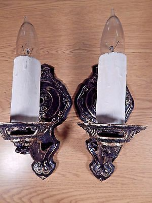 A Pair Of Antique Black With Accents Gold Electric Wall Sconces With Switches