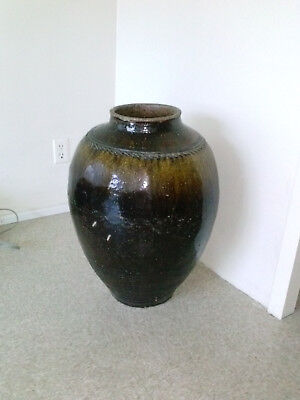Large & Rare Ming Dynasty Chinese Honey/Brown Glaze Storage Vessel