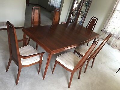 mid cen.modern Walnut dining set includes table, 6 chairs, buffet/ breakfront