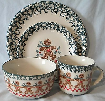 Tienshan Folk Craft Brown Gingerbread Man 4 Piece Place setting