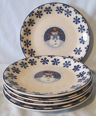 Tienshan Folk Craft Holiday Blue Cameo Snowman Salad Plate Set of 5