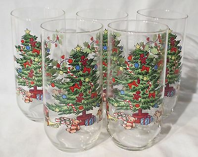 Tienshan Holiday Hostess Tall Glass Tumbler set of 5