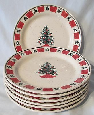 Folk Craft Holiday Green Christmas Tree Salad Plate set of 7