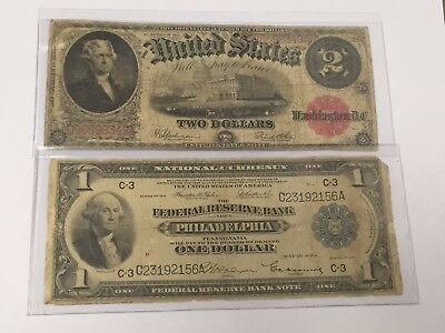 Lot(2) Large Currency: $1 1918 National, $2 1917 Bearer Note-Blue/red Seal #!50