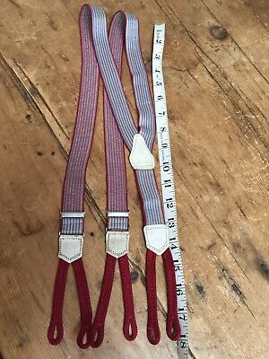 Vintage Early - Mid 20Th C  Classic Striped Mens Suspenders - Braces